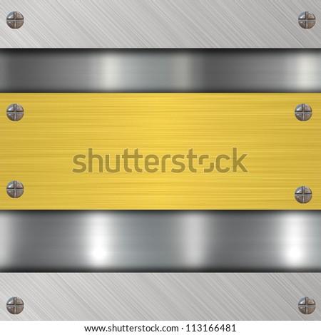 gold metal banner - stock photo