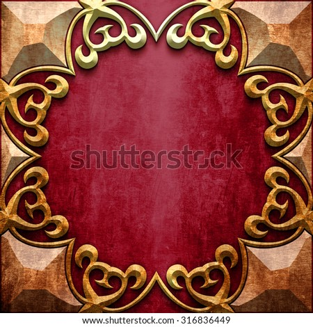 Gold metal  classic ornamental frame on red iron plate (vintage collection) - stock photo