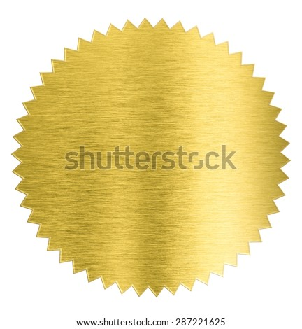 gold metal foil sticker seal isolated with clipping path included - stock photo