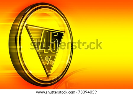 Gold metal forty-five percent on orange background - stock photo