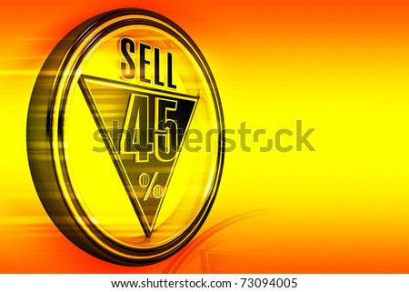 Gold metal forty-five percent sell on orange background - stock photo