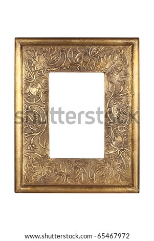 Gold metal frame isolated on white with clipping path. - stock photo