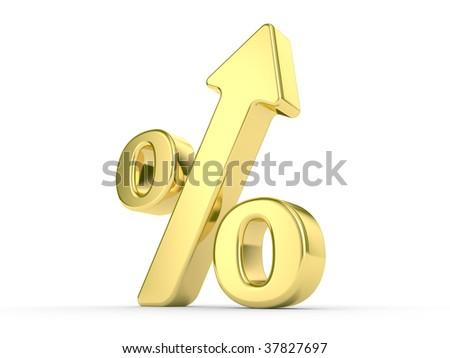 gold metal percentage symbol with an arrow upwards - stock photo