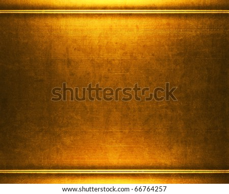 gold metal plate background - stock photo