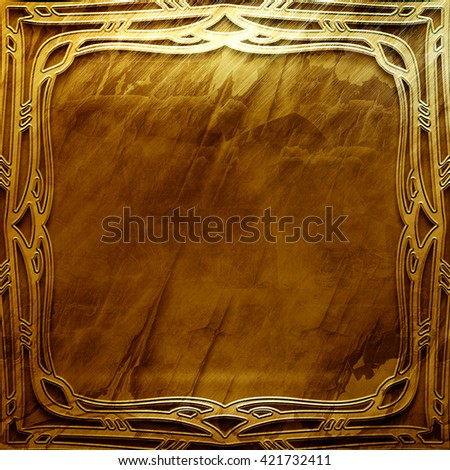 Gold metal plate with classic ornament. metal collection.  texture with metal carved pattern. Luxury metal design - stock photo
