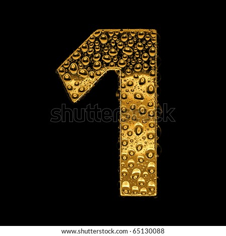 Gold metal three-dimensional alphabet symbol - digit 1. Covered with drops of clear water on glossy metal. Isolated on black - stock photo