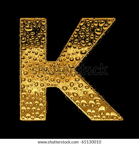 K Letter In Gold Gold metal three-dimensional alphabet symbol - letter K. Covered with ...