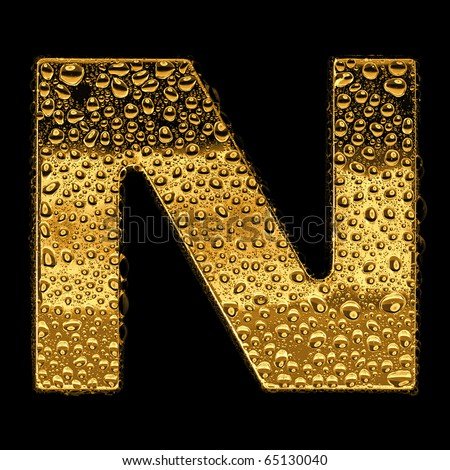 Gold metal three-dimensional alphabet symbol - letter N. Covered with drops of clear water on glossy metal. Isolated on black - stock photo