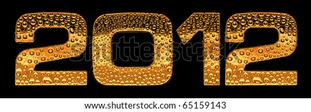 Gold metal three-dimensional alphabet symbols - digits 2012. Covered with drops of clear water on glossy metal. Isolated on black - stock photo