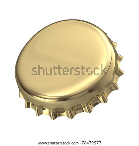 Gold Metallic bottle cap - 3d render - stock photo