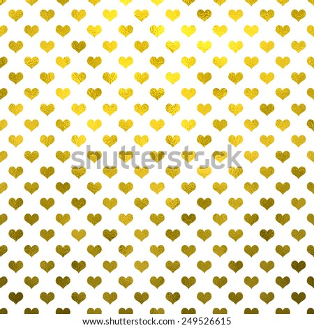 Gold Metallic Hearts on White Polka Dot Pattern Hearts - stock photo
