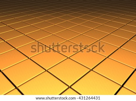 Gold metallic reflective surface comprised of cubes in a grid pattern - stock photo