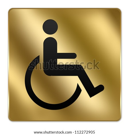 Gold Metallic Style Plate For Wheelchair Handicap Toilet  Sign Isolated on a White Background - stock photo