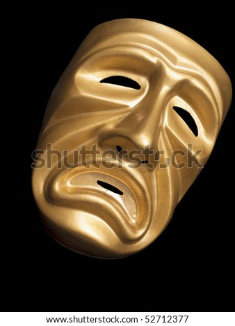 Gold metallic traditional tragedy mask on black - stock photo