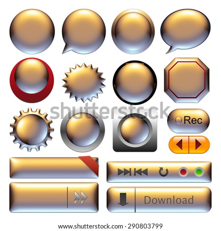 Gold metallic web buttons for website or app. - stock photo