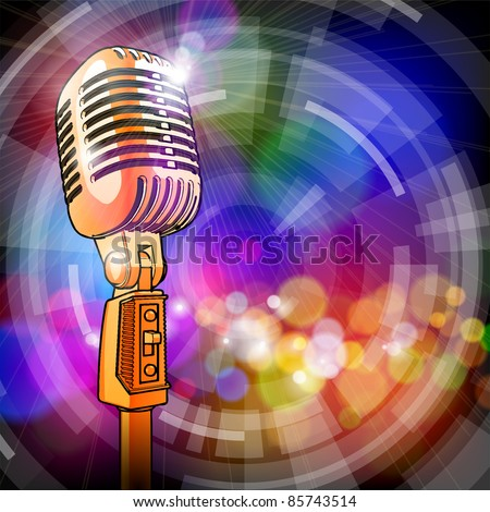 Gold microphone in the light colored lights. Bitmap copy my vector ID 81628549