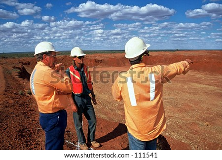 Gold Mine workers - stock photo