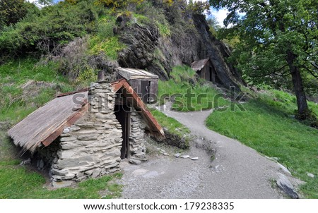 Gold miners hut in the Chinese Settlement,  Arrowtown, New Zealand - stock photo