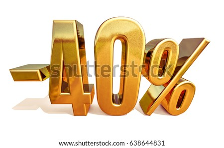 Gold -40%, Minus Forty Percent Discount Sign, 3D illustration