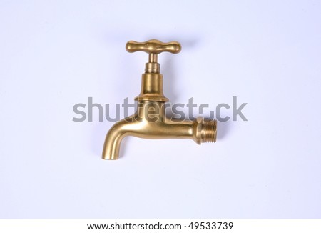 gold modern stainless steel tap. Isolated on white background. - stock photo