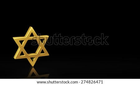 Gold Mogen Dovid symbol on black background with reflection and copyspace. Good for slide with text - stock photo