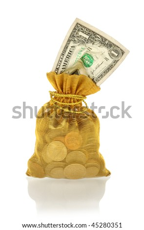 Gold Money Bag - stock photo