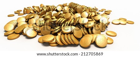 gold money.  business 3d illustration - stock photo