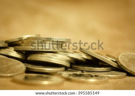 Gold money coins - lending, wealth, money concept - stock photo