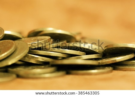 Gold money coins - savings, wealth, money concept - stock photo