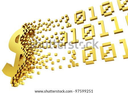 gold money symbol converting into the shapes of binary code representing electronic money. - stock photo