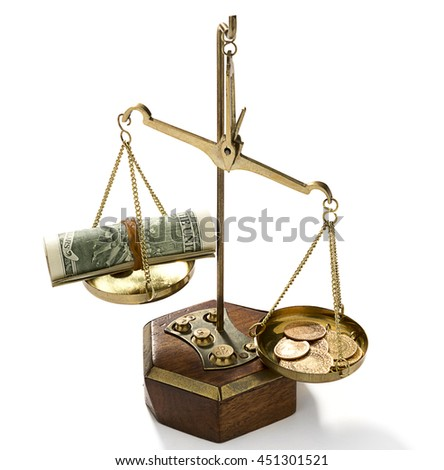 Gold more Powerful than Dollars Concept  - stock photo