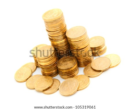 Gold mountains from coins. On a white background. - stock photo