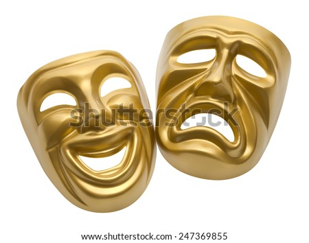 Gold Movie Masks Isolated on White Background. - stock photo