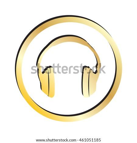 Gold Music Headphones Icon.  Raster Version - stock photo