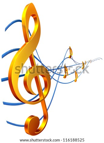 gold musical score with treble clef as a symbol of music creation - stock photo