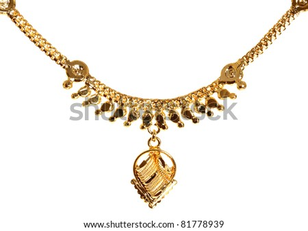 gold necklace isolated on white.