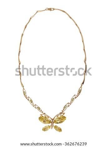 gold necklace isolated on white background - stock photo
