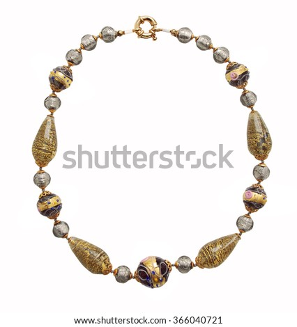 gold necklace isolated on white background