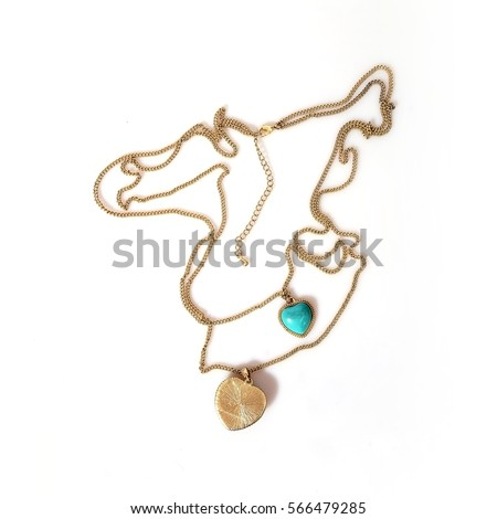 Gold necklace on a white background in various angles