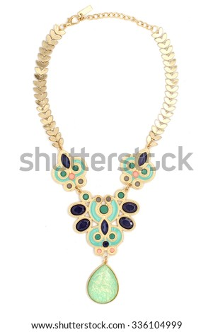 gold necklace with colored stones isolated on white - stock photo