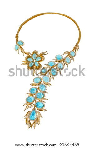 gold necklace with topazes and diamonds - stock photo