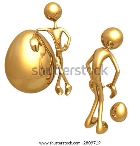 Gold Nest Egg Compare - stock photo