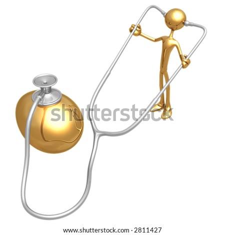 Gold Nest Egg Exam With Stethoscope - stock photo