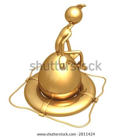 Gold Nest Egg In Life Preserver - stock photo