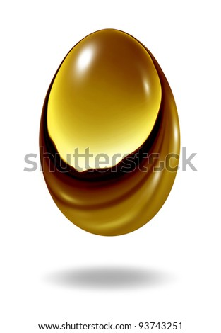 Gold nest egg on a white background as a retirement savings fund investment symbol showing the golden financial business concept of wealth and making money for a rainy day fund as an investment. - stock photo