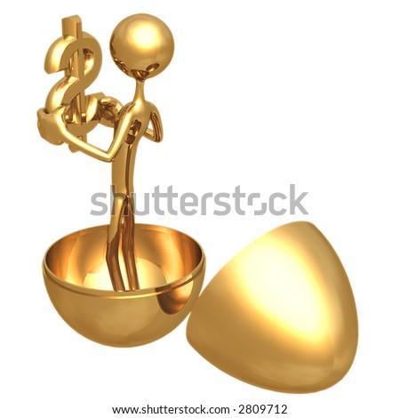 Gold Nest Egg Open With Dollar Inside - stock photo