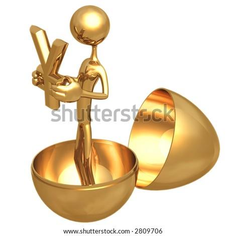Gold Nest Egg Open With Yen Inside - stock photo