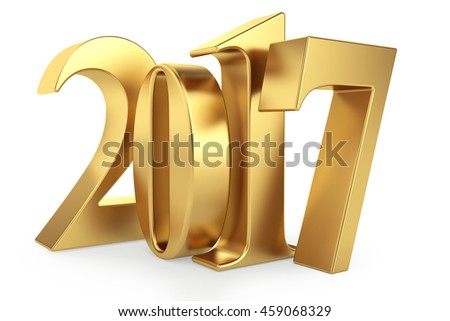 Gold 2017 new year 3d rendered image - stock photo