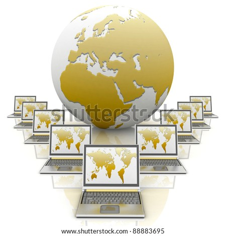 gold notebooks and a globe on a white background - stock photo