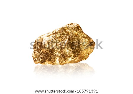 Gold nugget isolated on white background. - stock photo